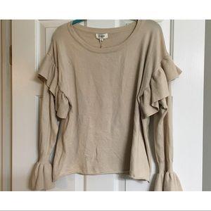 Umgee - oatmeal ruffle bell sleeve sweater